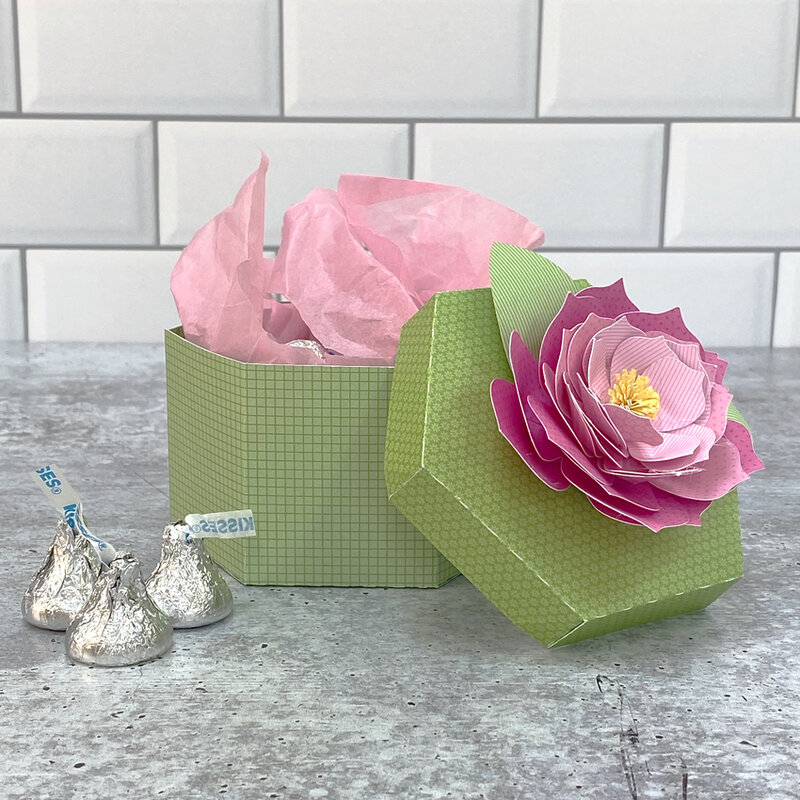 Lori Whitlock | Hexagon Box with Dahlia