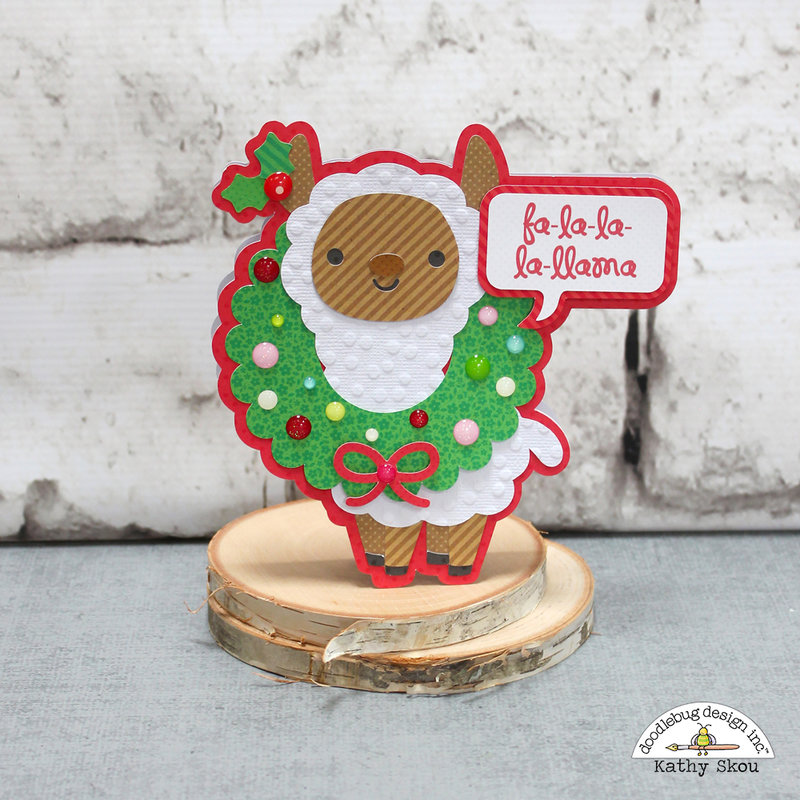 Doodlebug Design | So Much Pun Fa la la la LLama Christmas Card
