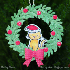 Lawn Fawn Kitty Wreath Ornament