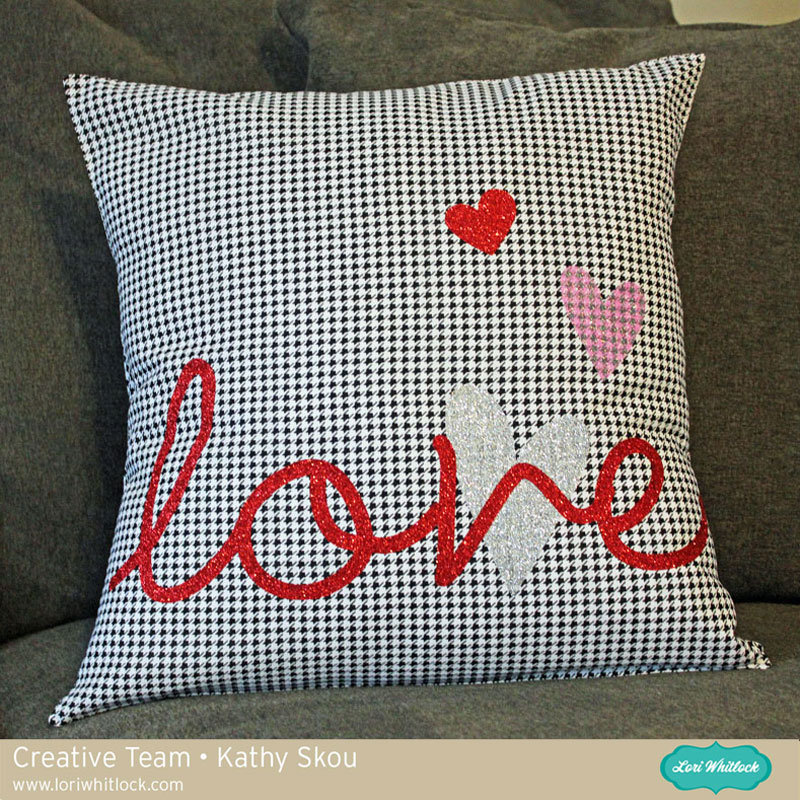 LOVE Pillow using Silhouette Glitter Heat Transfer