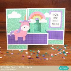 Lori Whitlock Pop Up Box Card Unicorn
