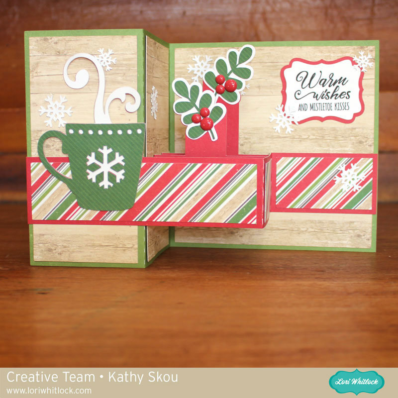 Lori Whitlock Pop Up Box Card Christmas Cocoa