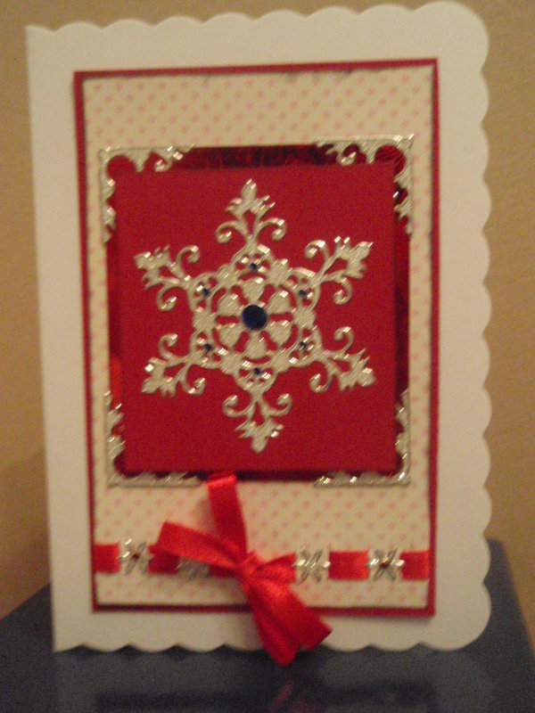 Silver and red christmascard