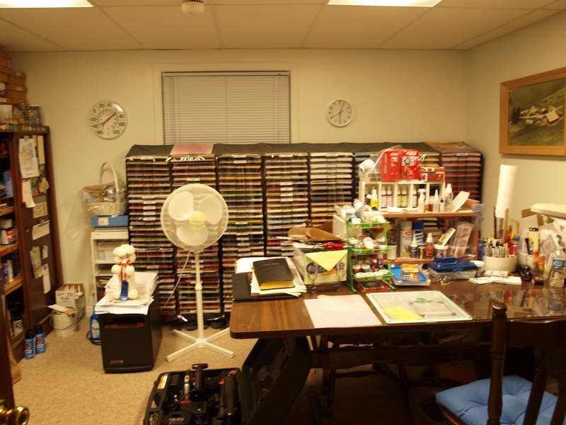 My scrapbook table and paper