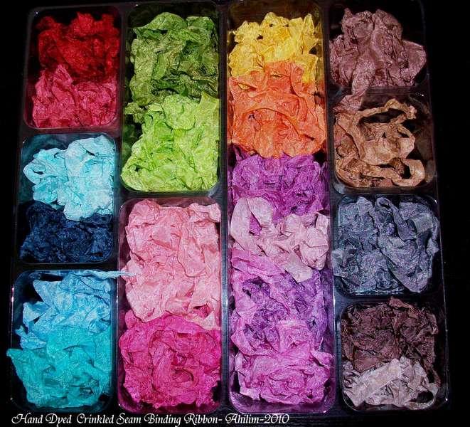 Hand Dyed Wrinkled Seam Ribbon