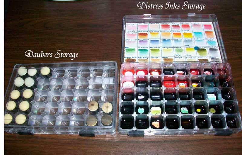 Daubers and Distress Inks Storage.