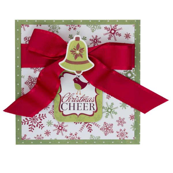 Elegant Christmas Cheer Greeting card with ribbon