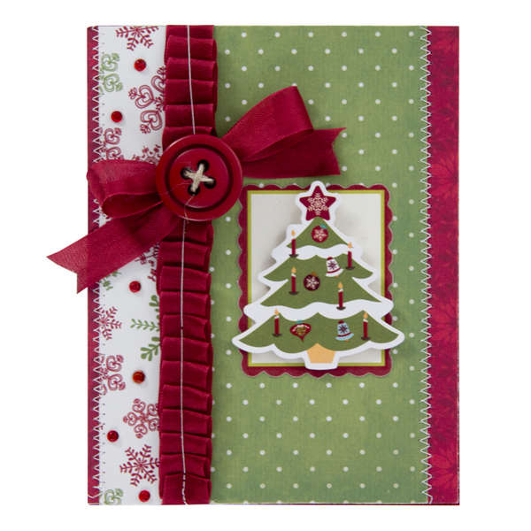 Christmas Tree Card with Ribbon and Card Stock Sticker