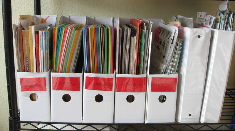 Magazine, paper, stencil and sticker storage.