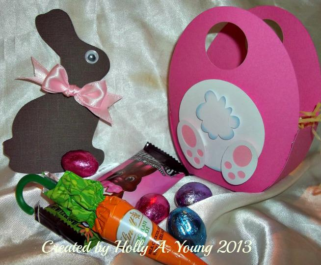 Egg totes contents with Chocolate bunny card