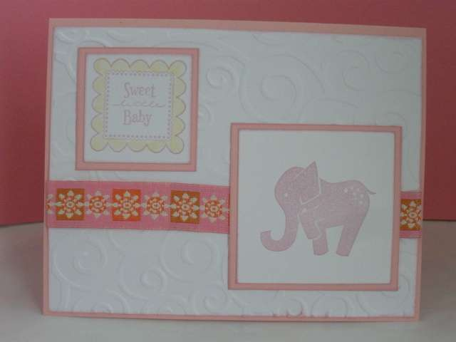 Pink Elephant Baby Card