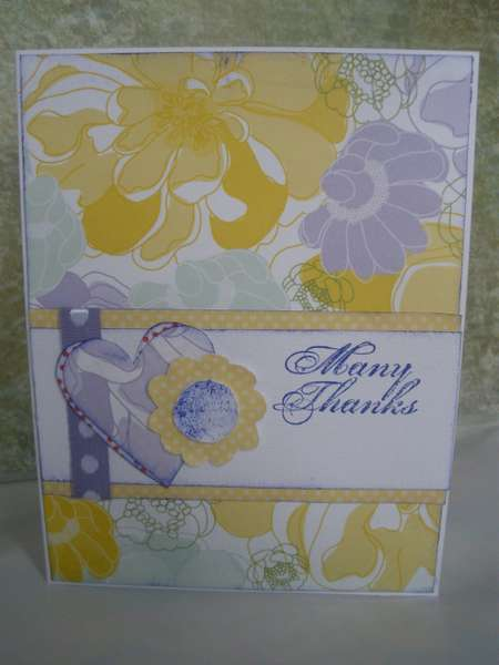 Flowers and Hearts Thank You Card