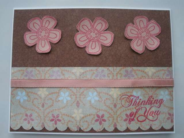 Pink Flowers Thinking of You Card