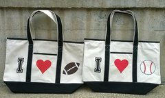 I Love Football & I Love Baseball canvas bags