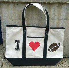 I Love Football canvas bag