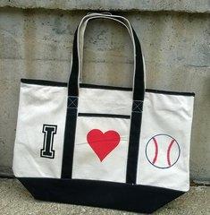 I Love Baseball canvas bag