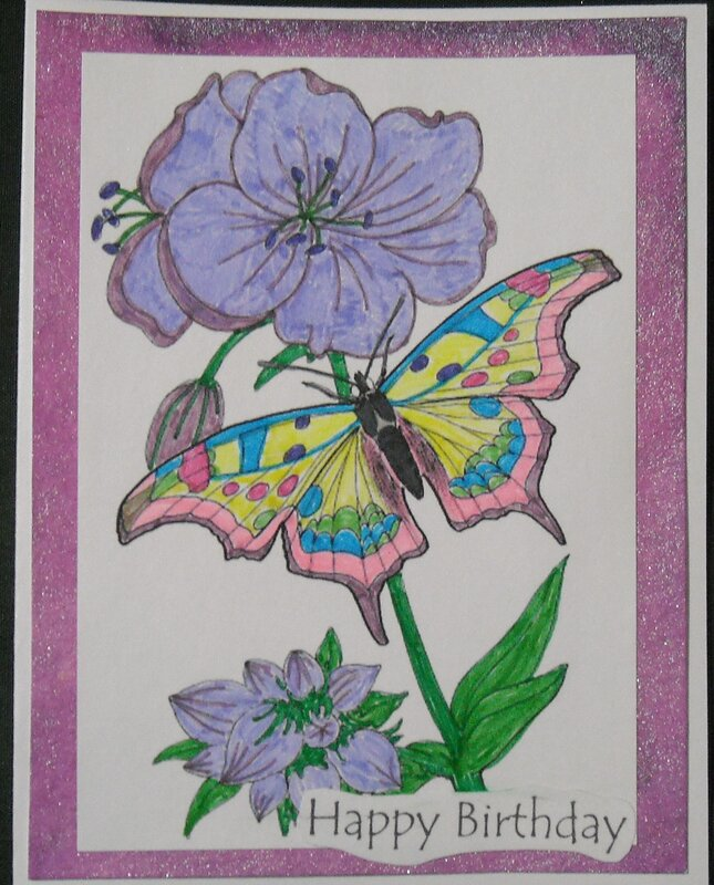 Happy Birthday (Flower & Butterfly)