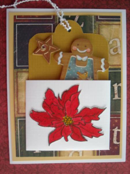 Poinsettia pocket & tag card