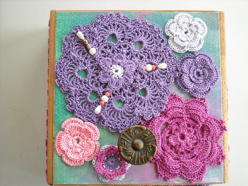 Lilac, Rose & Pink Altered Cigar Box