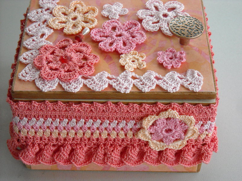 Coral, Pink & Yellow Altered Cigar Box