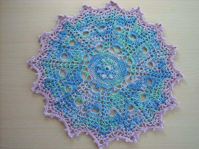 Multi Blue and Lavender Crochet Doily