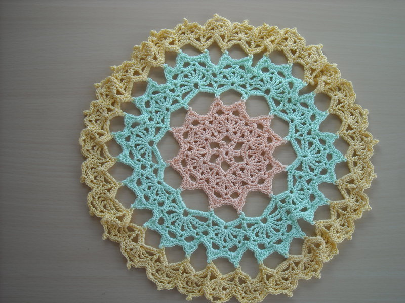 Peach, Green & Yellow Crochet Doily