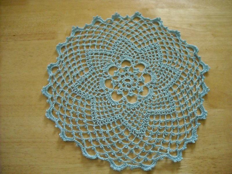 Blue Round Crochet Doily