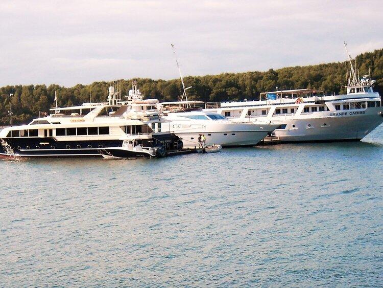 Luxury Boats docked in Bar Harbor