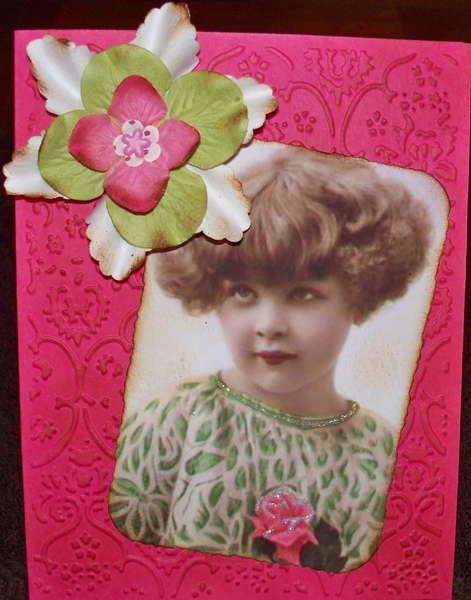 Vintage Girl w/Rose