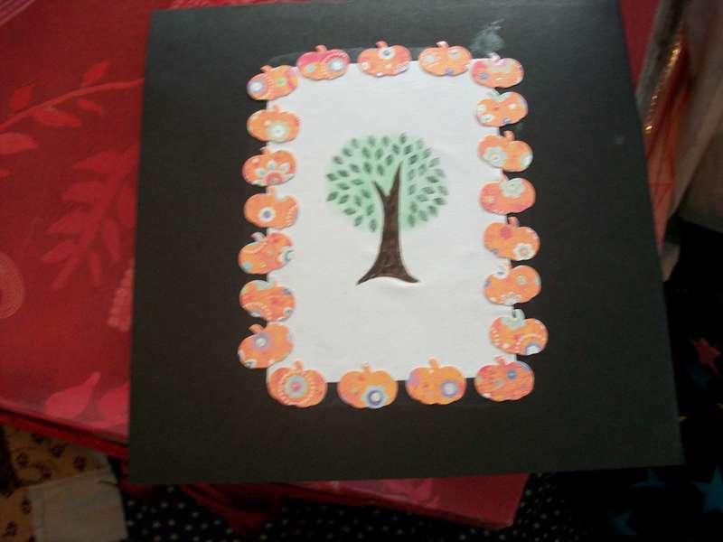 Pumpkin and tree halloween card