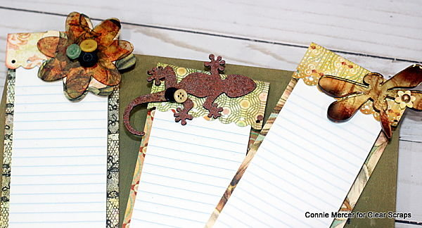 Note pads embellished with Clear Scraps