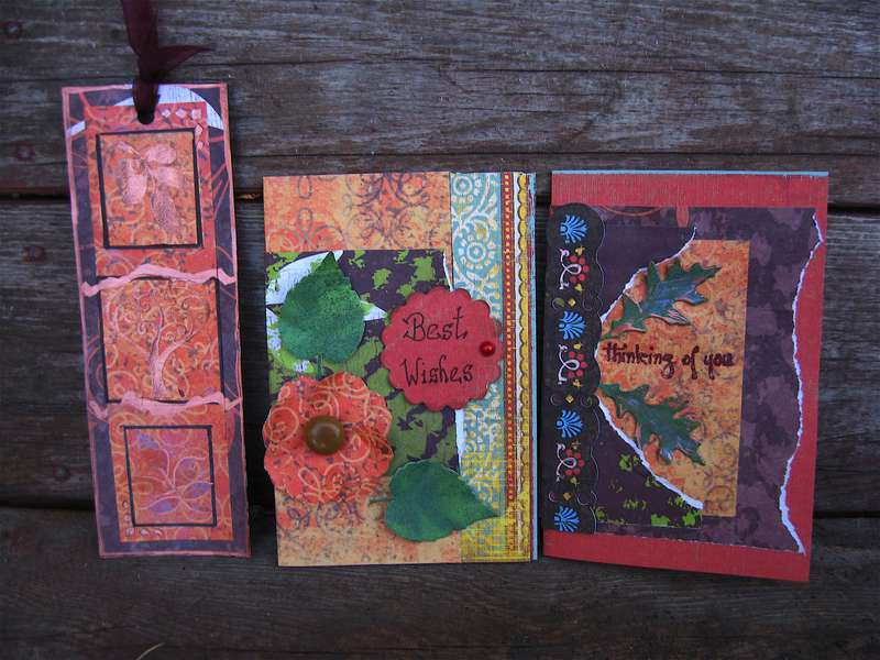 Fall coiour cards and a bookmark.