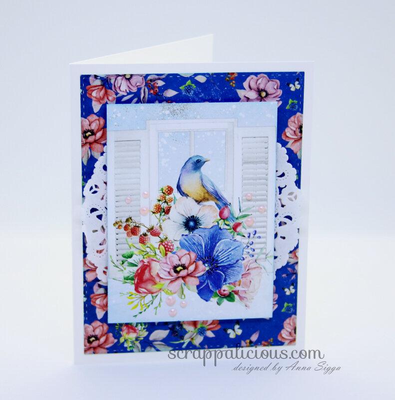 Blue floral-bird