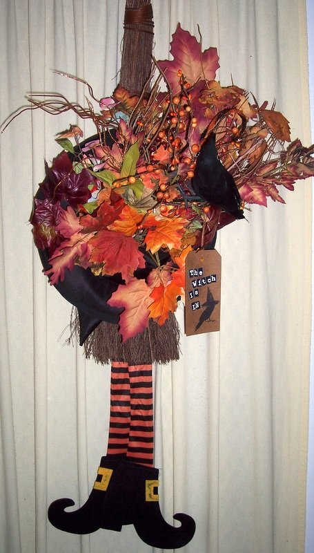 Witch Hat on Broom with florals. door hanger
