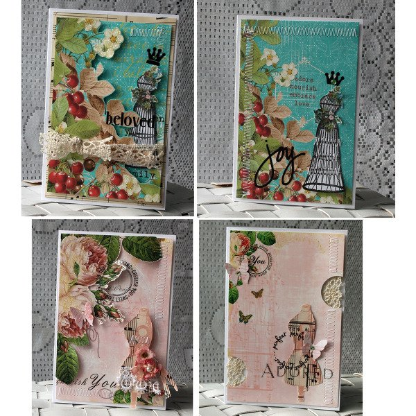 2 ways~ embellished and flat cards~websters pages