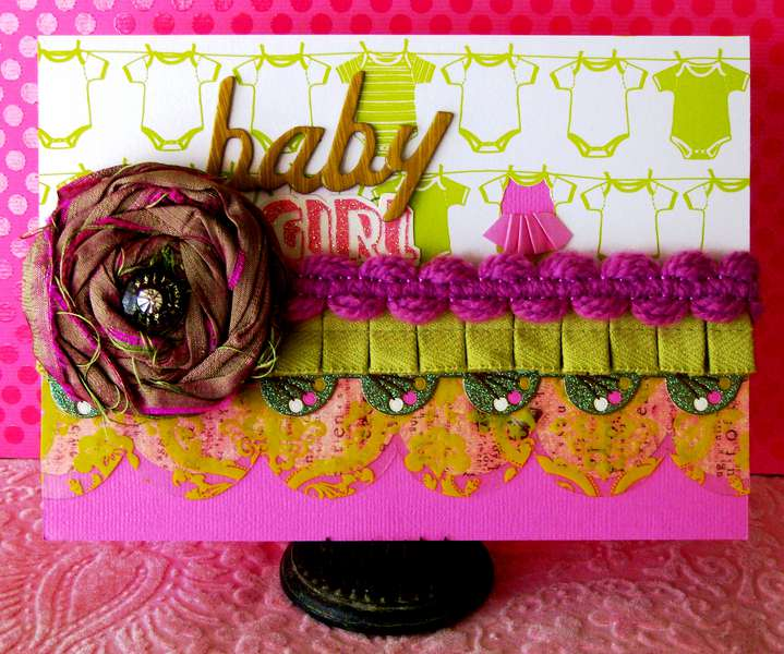 "Twisted Card #048 ""FOLDS"" Baby Girl Shower"