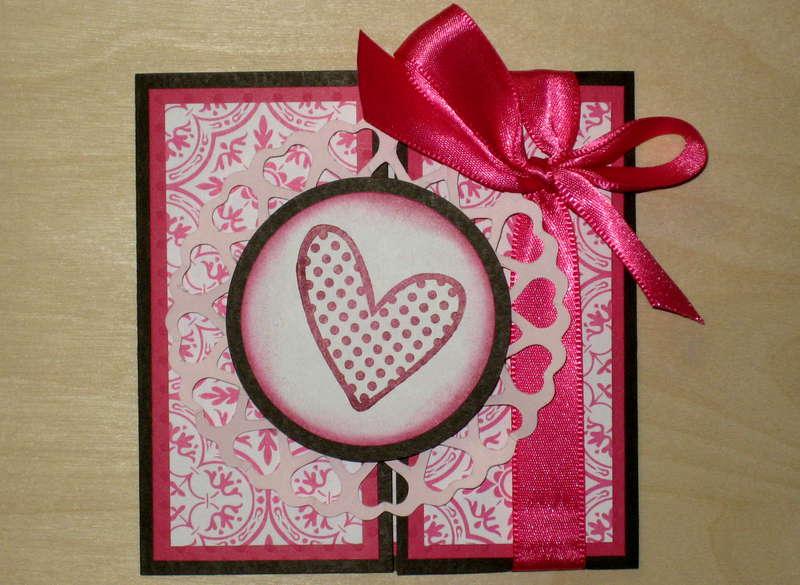 Pink Gatefold Heart Card