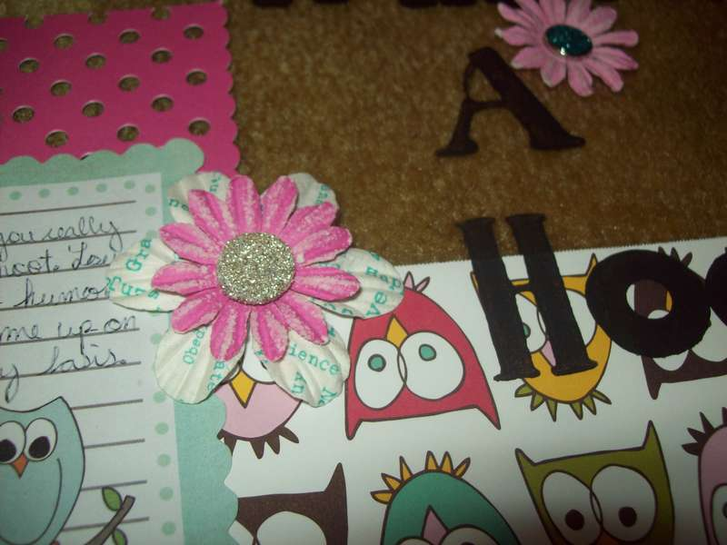 """What A Hoot"" layout - up close"