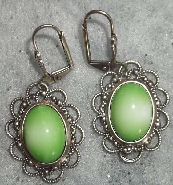 Antique German Cabochon Earrings