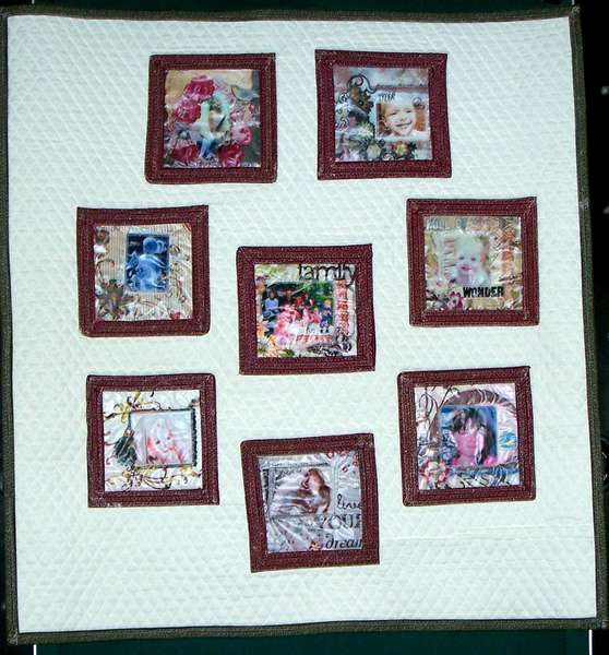 Handmade Quilt with Scrapbook pages imprinted