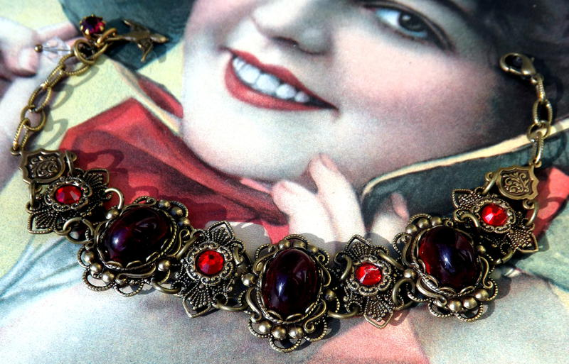 Victorian Inspired Red Siam Cabochon Bracelet