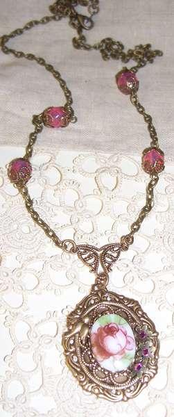 Floral  Cabochon Victorian Necklace