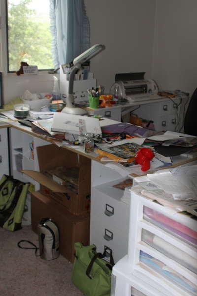 messy, messy scrap desk