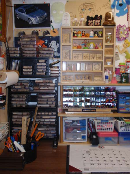 My re-organized  rubber stamp room.