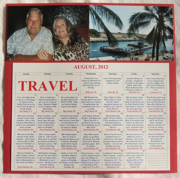 Calendar Page Right for road trip and Alaska Cruise and Hawaii 2012 vacation