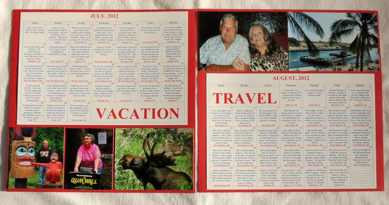 Calendar Page Both for road trip and Alaska Cruise and Hawaii 2012 vacation