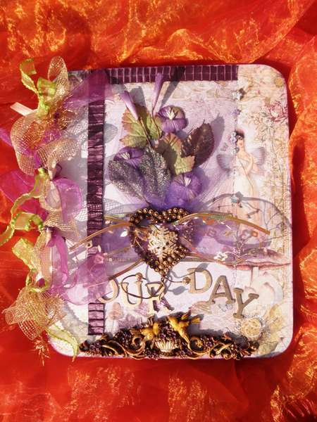 Purple chipboard wedding album 25cm x 30cm