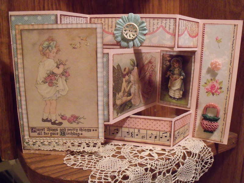 Vintage Birthday tri-fold card