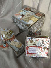 Little desk (cardboard)with school album inside...