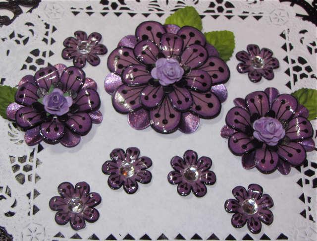 Homemade Flowers  Purple/Black